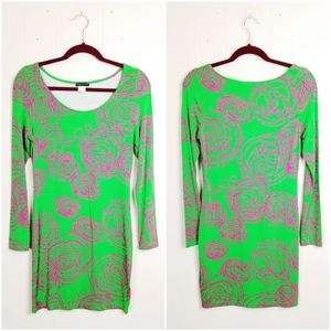 Green & Purple Abstract Pattern Bodycon Dress